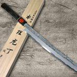 Shigeki Tanaka Swordlike Arciformed Aogami No.2 Damascus Sashimi Knives with Ebony Handle