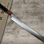 Newly released! Shigeki Tanaka Swordlike Arciformed VG10 Damascus Sushi Knives with Ebony Handle
