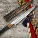 Goh Umanosuke Yoshihiro Suminagashi Damascus Blue 1 Steel Yanagiba Knife with Kurogaki Handle in BOX