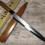 Goh Umanosuke Yoshihiro Suminagashi Damascus Silver 3 Stainless Steel Sushi Knife with Japanese Lacquered Handle