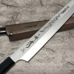 Sakai Takayuki Honyaki VG10 Stainless Dragon Engraved Japanese Yanagiba Knives with Saya