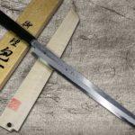 Goh Umanosuke Yoshihiro Suminagashi Aogami #1 Damascus Sakimaru-Takohiki Sashimi Knife with Saya Cover