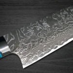 Takeshi Saji R2 Diamond Finished Damascus Chef's Knives with Turquoise Handle