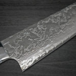 Takeshi Saji R2 Diamond Finished Damascus Chef's Knives with White Turquoise Handle