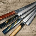Japanese Beautiful Lacquered Urushi Damascus Chef Knives by Sakai Takayuki