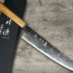 New Yu Kurosaki SENKO R2 Firework-textured Chef Knives with Japanese Urushi Lacquered Handle