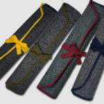 Japanese Wabi-Sabi Style Canvas Knife Roll Cases with Traditional Motif