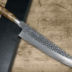 Takeshi Saji R2 Mirror Hammered Japanese Chef's Knives with Austerely Elegant Karin Handle