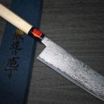 Shigeki Tanaka Popular Aogami Damascus Nakiri (Vegetable Knives) with Japanese-Style Stylish Handles