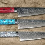 Takeshi Saji R2 Damascus Chef's Knives with Beautiful Turquoise Handles
